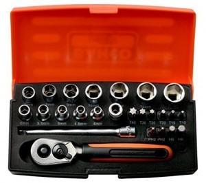 Bahco Knarrenkasten SL25 mit 25 Teilen ausgestattet.