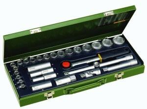 Grüner Proxxon Knarrenkasten mit 29 Werkzeugen